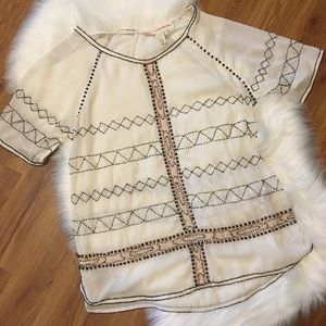 Anthropologie Tops - Anthro Carnation Lily Lily Rose Poeme Beaded Tunic